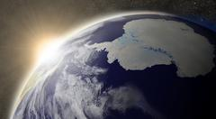 Sun over antarctica Stock Illustration