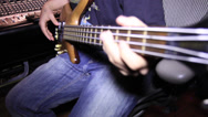 Stock Video Footage of Bass player in Recording Studio_As 03 30