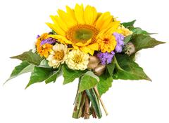 Bouquet with sun flower, sea lavender, zinnia - stock photo