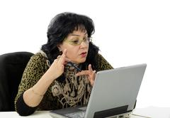 woman is e learning teacher - stock photo