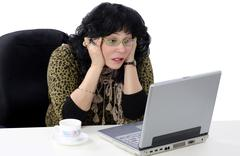 she does not understand online lesson - stock photo
