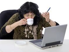 Stock Photo of cup coffee during e learning