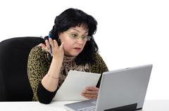 Stock Photo of woman takes online english conversation lesson