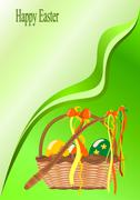 Basket with easter eggs Stock Illustration