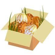 Stock Illustration of Easter eggs in a box