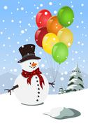 Stock Illustration of Happy snowman holding colorful balloons