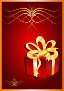 Stock Illustration of Christmas gift on red background