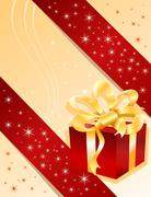 Stock Illustration of Christmas gift on yellow background
