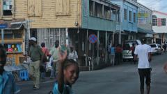 Antigua Caribbean city street school kids HD 1271 Stock Footage