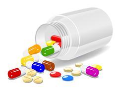 Medicine on white background - stock illustration