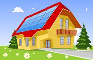 Stock Illustration of House from the solar panel on the roof