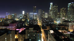 Time Lapse of Downtown Los Angeles at Night Stock Footage