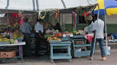 Antigua Caribbean fruit vegetable outdoor market HD 1258 Stock Footage