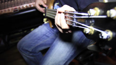 Bass player in Recording Studio_As 04 30 Stock Footage