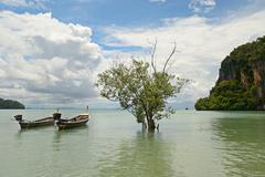 longtail boat in railey - stock photo