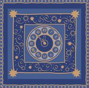 New Year midnight clock background - stock illustration