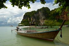 Longtail boat in railey Stock Photos