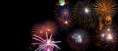 Wide fireworks display made of real pyrotechnic photos Stock Photos