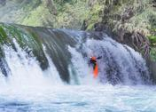 Stock Photo of kayak and waterfall