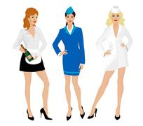 Stewardess, nurse and waitress. - stock illustration