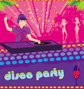Stock Illustration of dj and girls dancing at a party