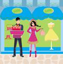Stock Illustration of couple on shopping - winter sales
