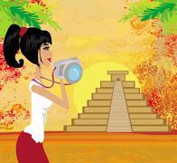 Tourist photographs mayan pyramid Stock Illustration