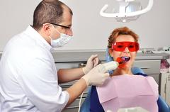 dentist tooth filling - stock photo