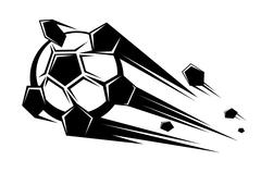 speeding soccer ball loosing its pentagons - stock illustration