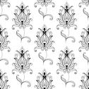 Stock Illustration of repeat seamless pattern of ornate floral motifs