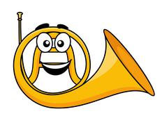 catoon illustration of a french horn - stock illustration