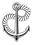 Nautical anchor with a coiled rope Stock Illustration