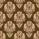 Stock Illustration of repeat floral motifs on a brown background