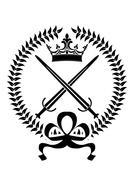 royal emblem with crossed swords - stock illustration