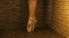 Young graceful ballerina standing en pointe Stock Footage