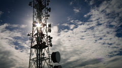 4Kcommunication tower time lapse grey moody sky with clouds Stock Footage