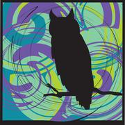 Owl alerted to movement. Vector illustration - stock illustration