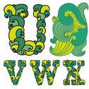 Stock Illustration of decorative alphabet wave letters u, v, w, x, with abstract wave ornament