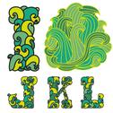 Stock Illustration of decorative alphabet wave letters i, j, k, l, with abstract wave ornament