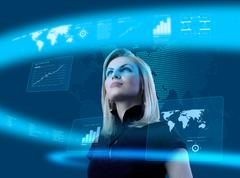 Attractive blonde young woman in futuristic interface Stock Illustration