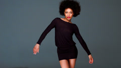 Sexy Girl With Afro Haircut and Miniskirt Stock Footage