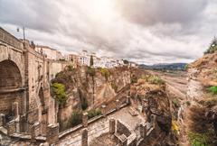 Puente Nuevo bridge and picturesque view of Ronda - stock photo