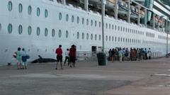 Antigua cruise ship passengers returns boat entrance HD 1305 Stock Footage