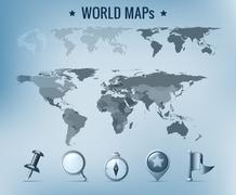 Maailmankartalle vektori: poliittinen, pilkullinen, kiinteä. Piirros