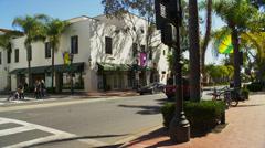 Busy Intersection in Santa Barbara, CA Stock Footage
