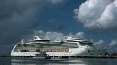 Antigua Royal Caribbean cruise ship in port HD 1264 Stock Footage