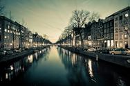 Stock Photo of amsterdam canal street view at night