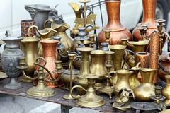 Brass pots antique Stock Photos