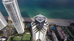 Oceanfront condos in Miami Stock Footage
