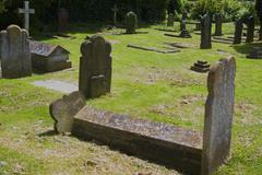 medieval english cemetery in crawley west sussex - stock photo
